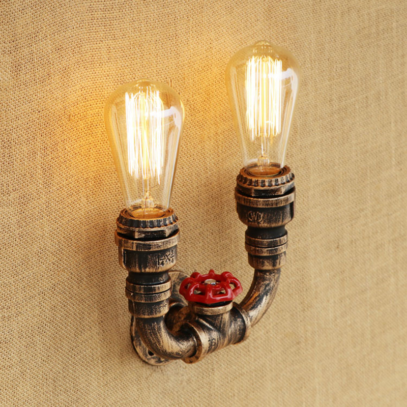 Retro Wall Lamp European Vintage Style 2 lights iron rust Water pipe retro sconce lights for living room bedroom restaurant bar купить