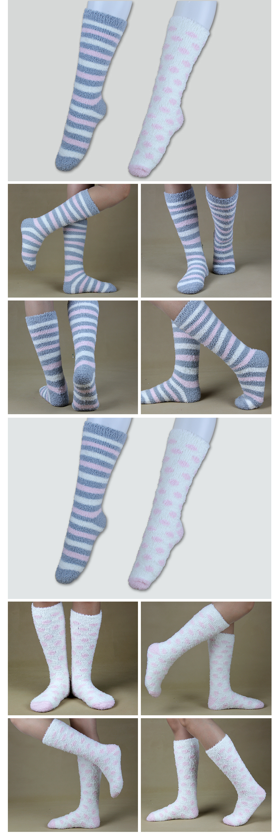 High Indoor Women Socks Soft Warm Spring Winter Brand Thick Striped Compression Hosiery Long Ladies Cosy Home Slipper Socks 2PK 8