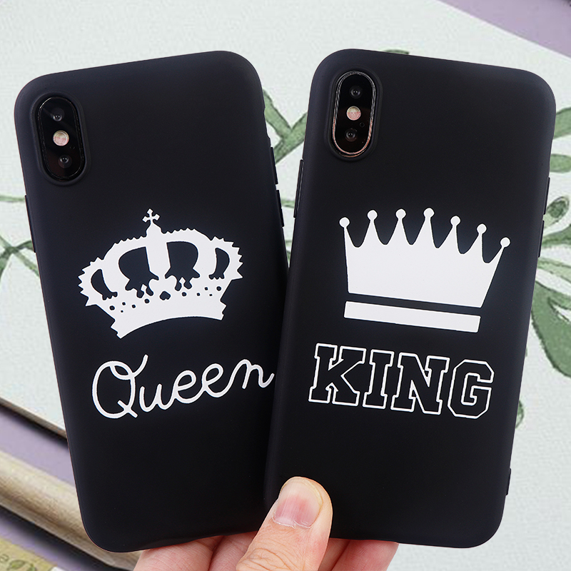 Couple Phone Cases for iPhone X XS MAX XR 6 s 7 8 Plus Fitted Fashion Case Queen King Soft Silicone Cell Phone Cover Accessories in Fitted Cases from Cellphones Telecommunications