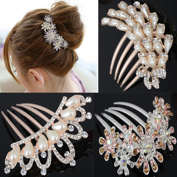 Fashion Wedding Bridal Shine Flower Crystal Rhinestone Petal Tuck Comb Pin Hair Clip Headwear Girls Dressing - Yiwu Ino E-Commerce Co., Ltd. store
