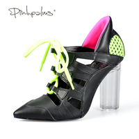 7c3472f51d Pink Palms Casual Pumps Shoes Women Perspex High Heels Clear Heels Cross  Tied Women Breathable Casual