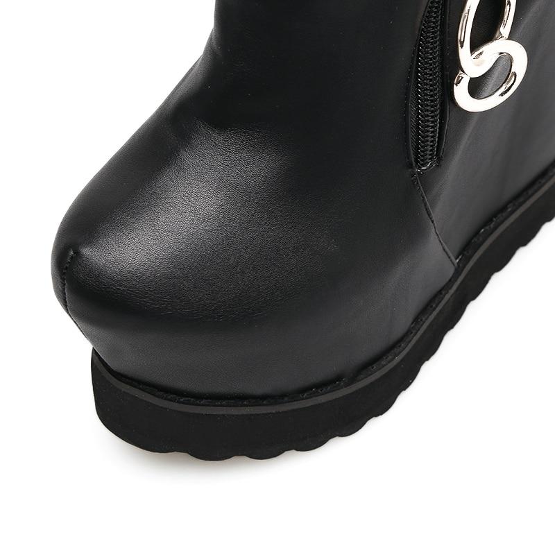 Señoras 15 Cm Zapatos Cremallera Negro Tacón Aumento Otoño Plataforma De Alto Cuñas Moda Metal Altura Tobillo Botas xRIRAr