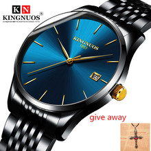 цены на Men Watches2019 Fashion Brand KINGNUOS Business Quartz Watch Ultra Slim Steel Wristwatch Date Clock Male Hodinky Reloj Hombre  в интернет-магазинах
