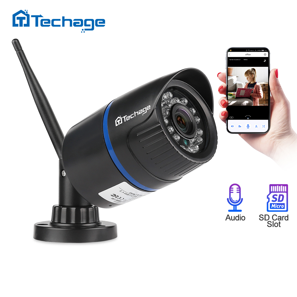 Techage 1080P Wireless Wifi IP Camera SD TF Card Audio Record 2MP IR Night Vision 2MP P2P Onvif CCTV Outdoor Video Surveillance