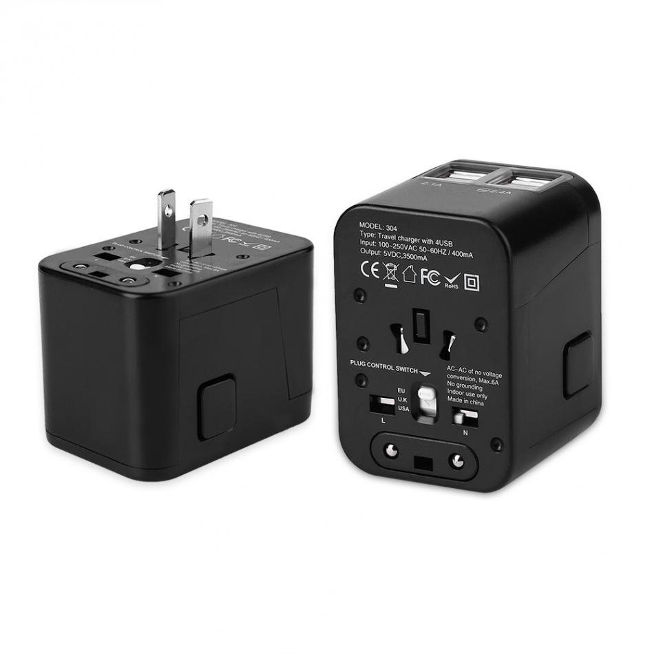 VBESTLIFE All in One Universal Plug Adapter Outdoor Travel Charger Adapter 4 Port USB with US UK EU AU Plug 100-250V/ 6A