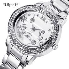 купить 2019 big Women Rhinestone fashion Watches Lady Dress watch trendy ladies Crystal Quartz Clocks Luxury brand Bracelet Wristwatch по цене 1105.19 рублей