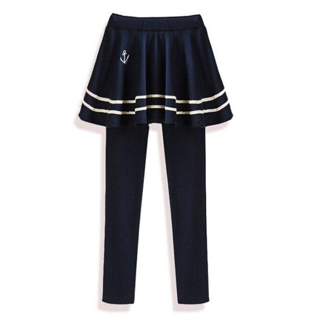 2016 Моды Короткий Дизайн юбка Леггинсы брюки Бросился Полосатый Женщины Леггинсы Новый Обвал Брюки Упругие Колледж Полоса Плиссированные