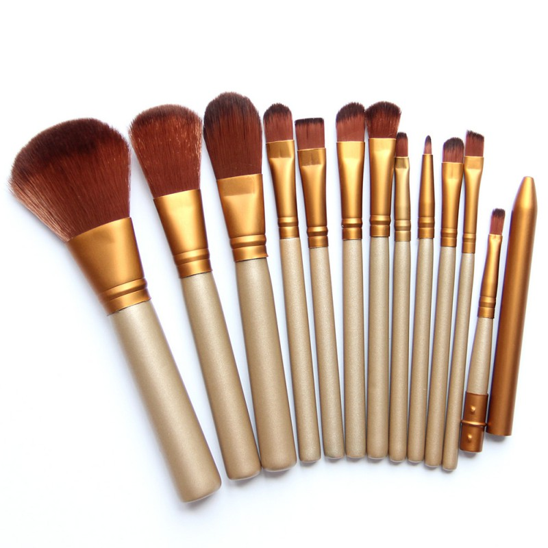12 Pcs/lot Make Up Brushes Set Foundation Golden Face Eye Powder Blusher Professional Cosmetics