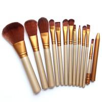 12 Pcs/lot Make Up Brushes Set Foundation Golden Face Eye Powder Blusher Professional Cosmetics