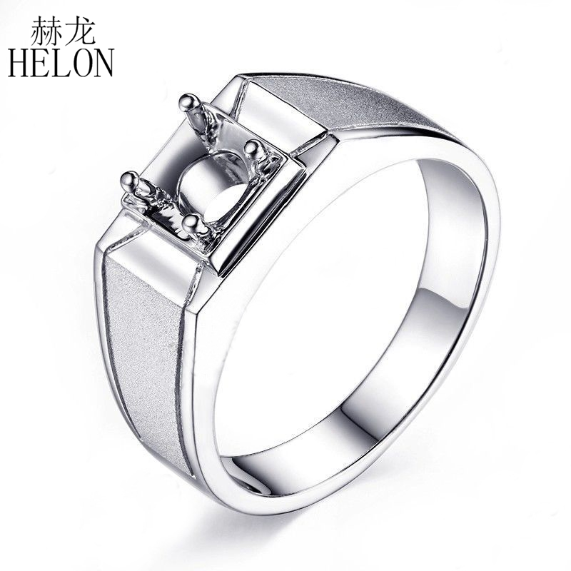 HELON Men's Jewelry Real 925 Sterling Silver Solitaire Semi Mount Round Cut 6.5mm Engagement Wedding Trendy Men Ring Setting