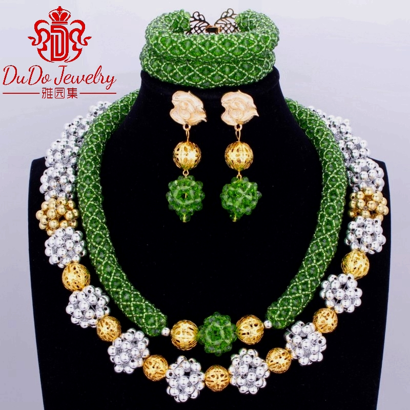 Silver Gold Green Crystal Nigerian Wedding Party Beads Statement Necklaces African Jewelry Sets Lace Jewellery Free Shipping Hot 2018 hot sale nigerian african lace fabrics french guipure tulle gold line bridal lace fabric for wedding party dress 5yds c8415