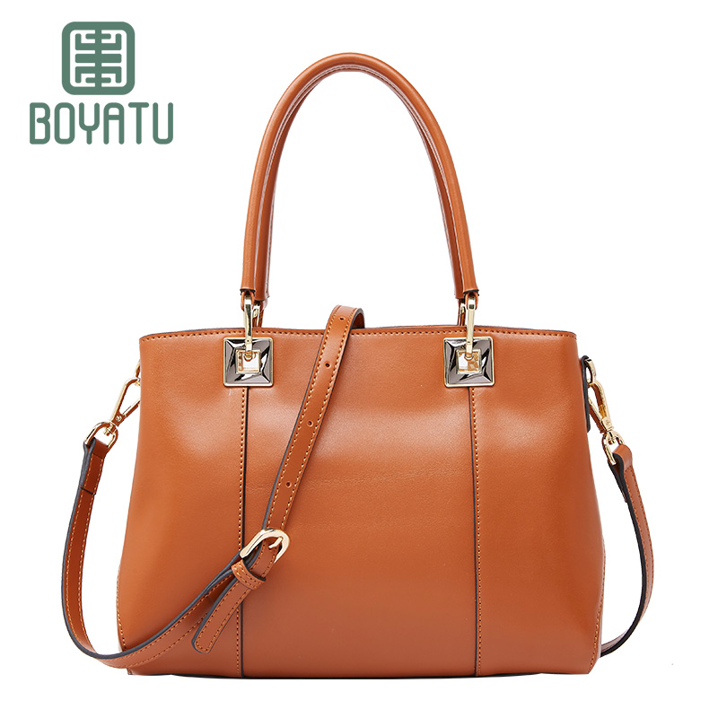 BOYATU Genuine Leather Shoulder Bag Women's Handbags New Arrival Brand Top-handle Famous Designer Lady Totes Casual Bags Sac hot sale 2016 france popular top handle bags women shoulder bags famous brand new stone handbags champagne silver hobo bag b075