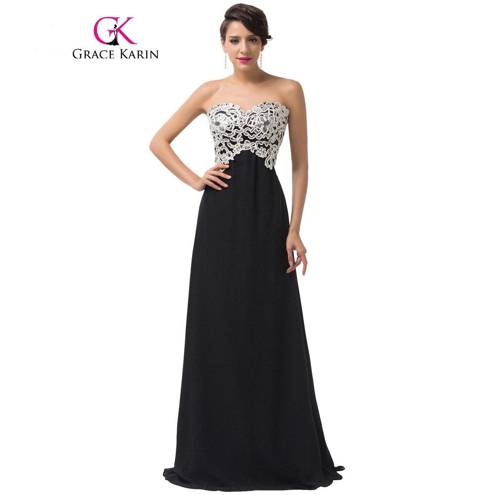 Грейс Карин Вечерние платья черный, розовый Сияющий белый кружево блесток вечерние длинные выпускное платье бальное