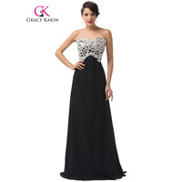 Grace Karin Evening Dresses Black Pink Shining White Lace Sequin Formal Evening Gowns Long Prom Dress Ball Gown Special Occasion