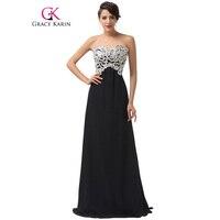 Grace Karin Abiye Siyah Pembe Shining Beyaz Dantel Pullu Örgün Abiye giyim Uzun Gelinlik Elbise Balo Özel Durum