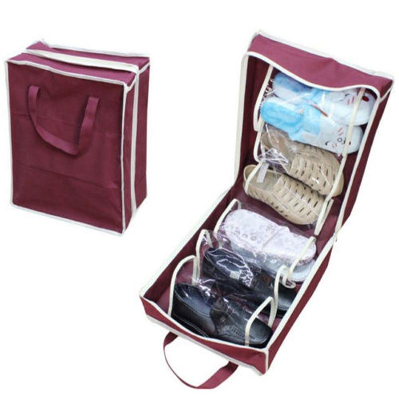Hot Travel Waterproof Folding Shoes Organizer Storage Bags Portable Closet Shoe Storage Bags Wine Red 1PC