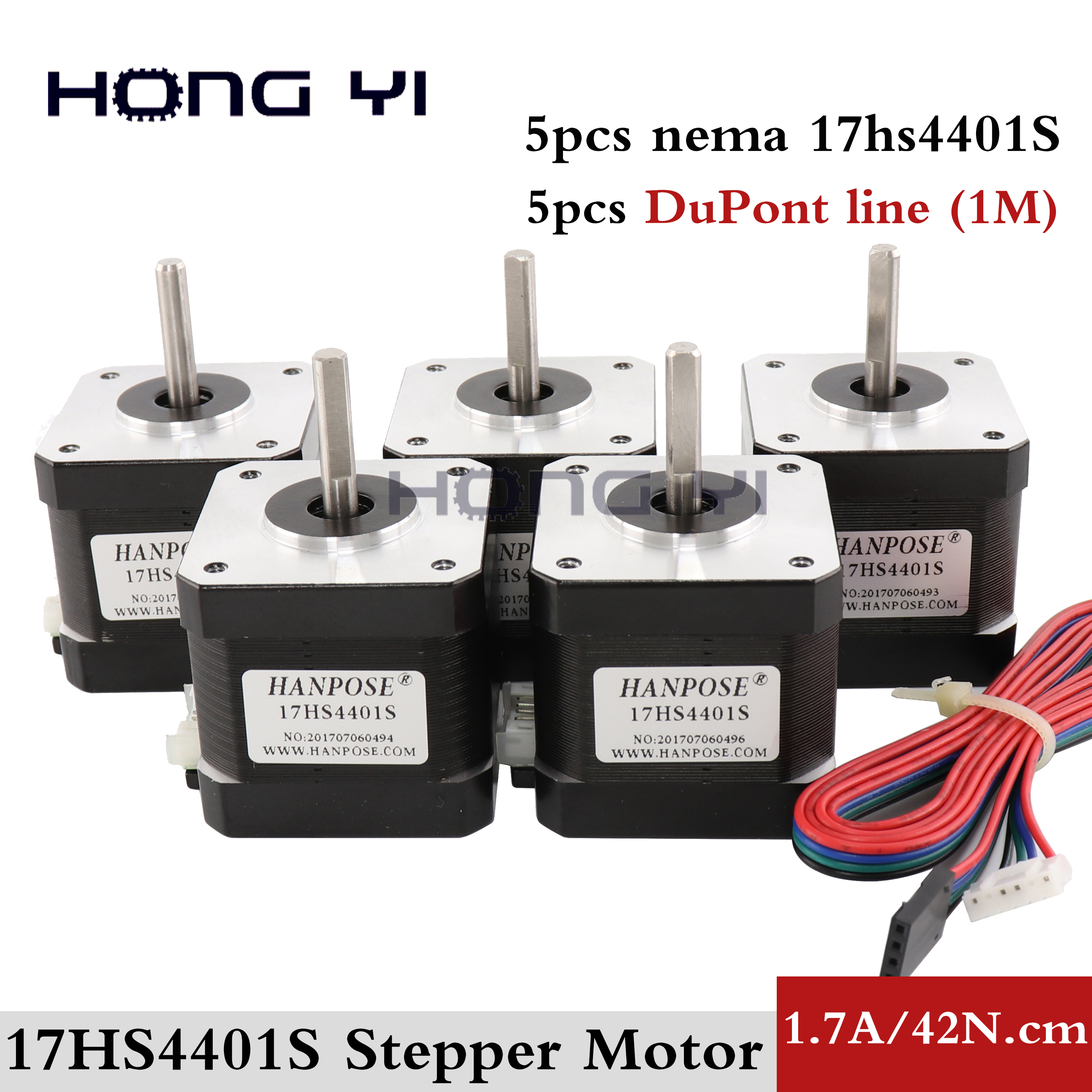 Free Shipping 5pcs Nema17 Stepper Motor 42 motor Nema 17 1 7A 17HS4401S motor for CNC