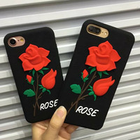 For IPhone 7 Case 3D Retro Rose Flower Silicon Cases Cover For Iphone 7plus 6 S