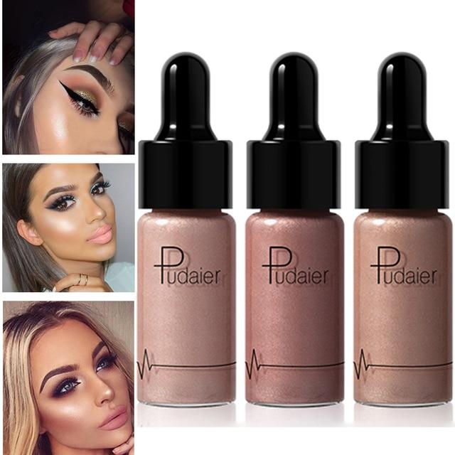 PUDAIER Professional Shimmer Highlighter Make Up White Glow Face Brighten Dark Skin Contour Bronzer Highlighter Makeup Liquid