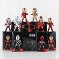 6 pçs/lote marvel homem de ferro avengers super hero mini led flash de luz 8.5 CM PVC Boneca Action Figure Set Modelo Coleção Toy Kid Presente