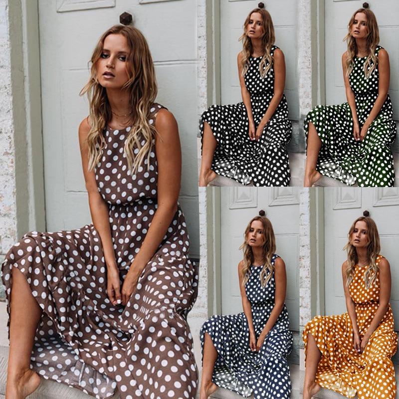 Oufisun Summer Sleeveless Polka Dot Print Women Midi Dress Casual Fashion Dresses A-Line Boho Elegant Beach Long Dress Vestidos