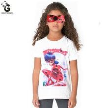 Milagrosa Mariquita Niñas Máscara Camisetas Bobo Choses Camisetas Para Chicas Trajes de Cosplay Niños Ropa Mariquita Marinette Remata camisetas(China (Mainland))