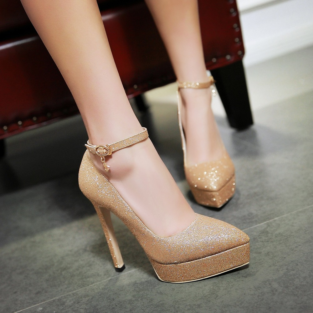 a9bba2fb83 Aliexpress.com : Buy Plus size fashion gold silver prom shoes .