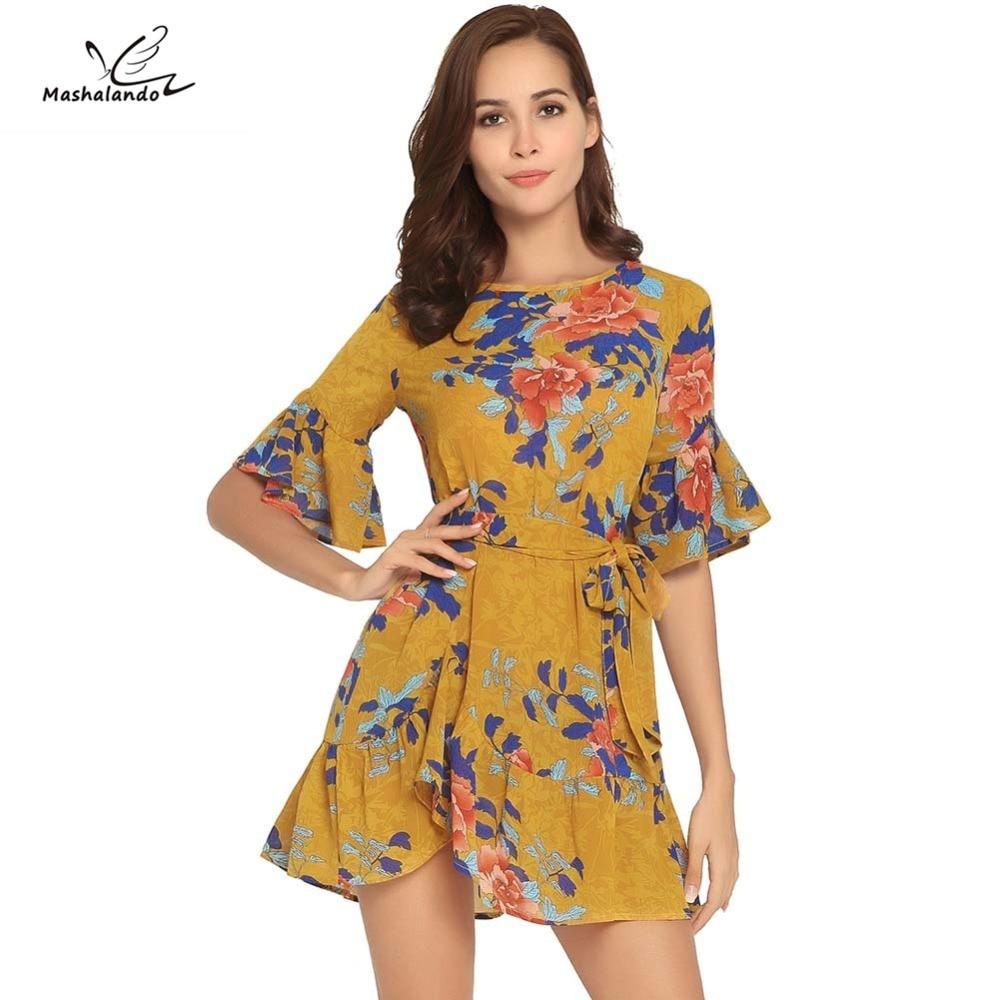 ca386f14cfbe € 19.36 |2018 modelos de explosión de verano trompeta mangas cuello redondo  impresión playa vestido en Vestidos de La ropa de las mujeres en ...