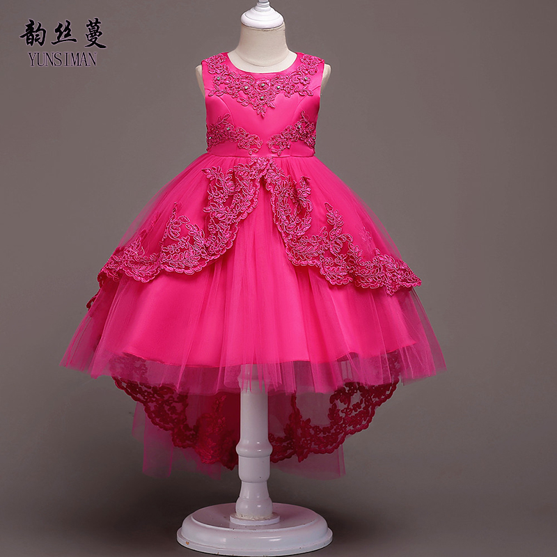 Girls Dress for Kids Size 4 6 8 10 12 to 14 Years Rose Red Girls Tailing Dress Embroidery Lace Girls Princess Dress Age 14 1V11