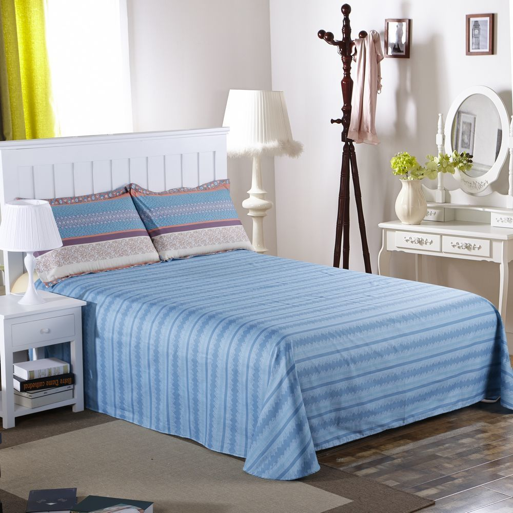 Plaid Bedding Set With Pillowcase Sheet For Boy 100% Cotton Queen Size Geometric Printed Home Duvet Cover Set Bed Line 200*230cm - 2