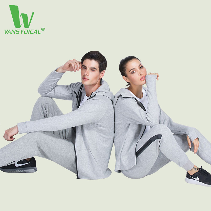 VANSYDICAL Autumn Winter 2 Piece/Set Tracksuit For Women Men Pants + Hooded Jacket Running Set Sportswear Tracksuits Sport Suits