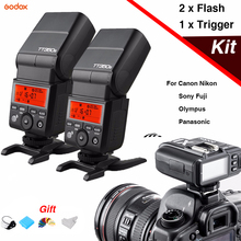 цена 2Pcs Godox TT350 Mini flash Speedlite & X1T Flash Trigger Wireless TTL Transmitter For Canon Nikon Sony Olympus/Panasonic Fuji онлайн в 2017 году