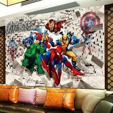 Custom Photo Wall Paper Avenger Union Hulk Spiderman 3D Ster