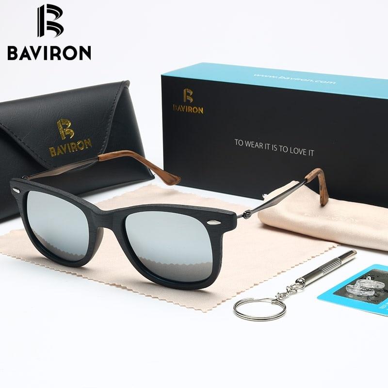 41b2960cea4 BAVIRON Men Similar Wooden Sun Glasses Acetate Retro Classic Sunglasses  Women Polarized Lens Anti-UV400
