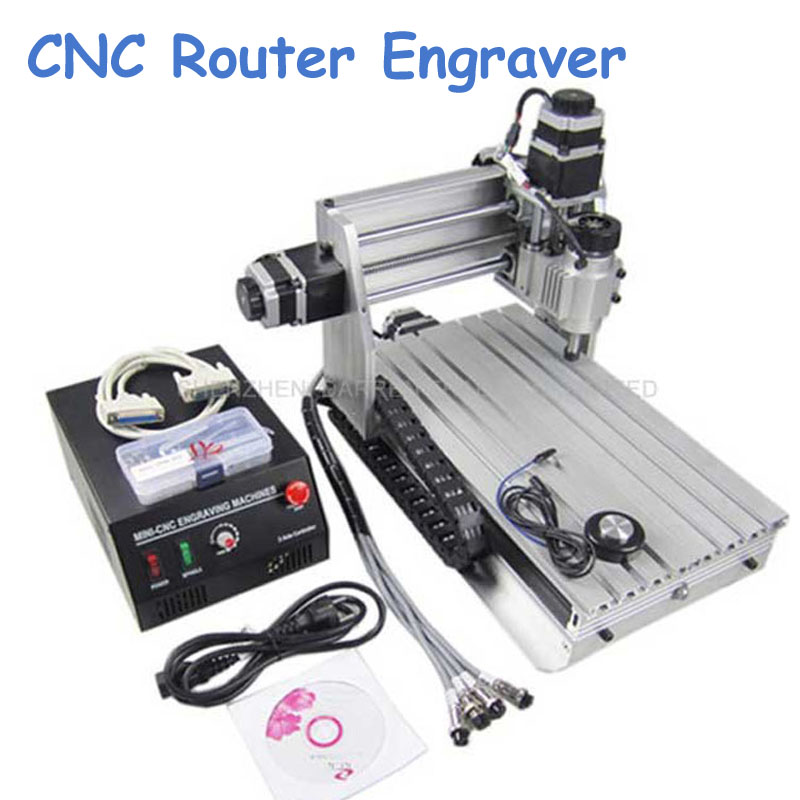 3 Axis CNC Router Engraver Cutting Machine CNC 3020 with Ball Screw + 20x 3.175mm 1/8 Tungsten Carbide Cutter 3020Z-DQ