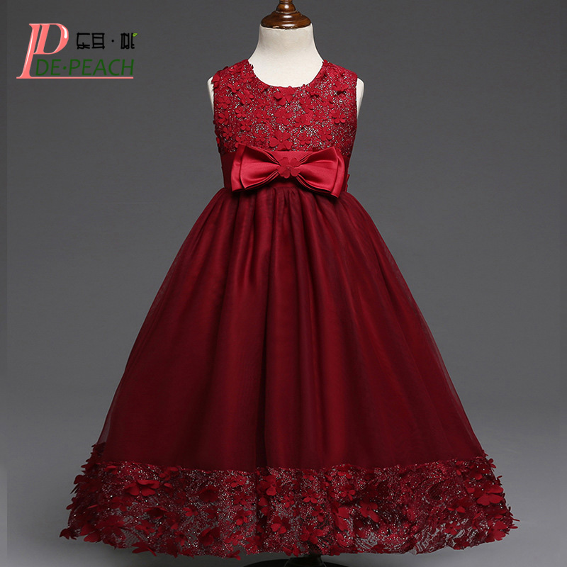 DE PEACH Cute Bow Girls Dress Kids Princess Wedding Party Dresses Girl Flowers Lace Christmas Vestidos Summer Children Clothing