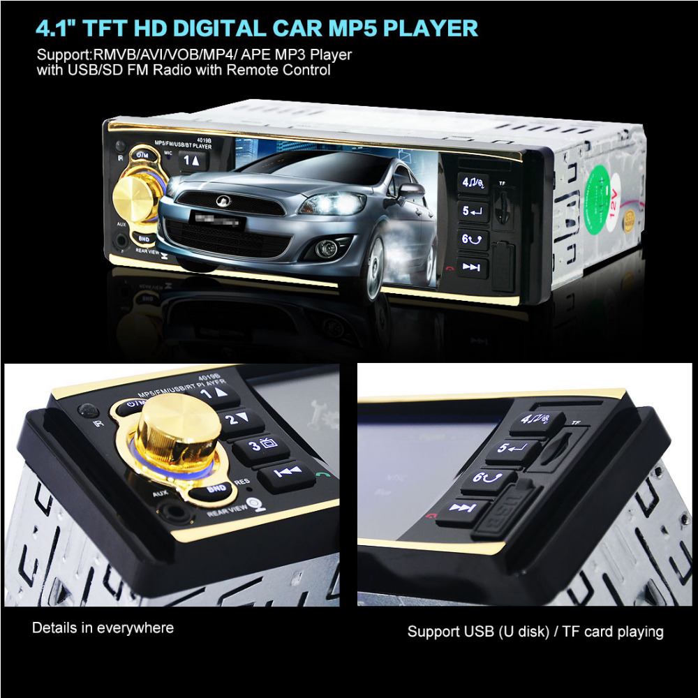 New 4019B12V 4.1 Inch HD 1080P Bluetooth Stereo MP3 / MP4 Radio FM MP5 Video Player Support AUX Input USB / TF card FM function image