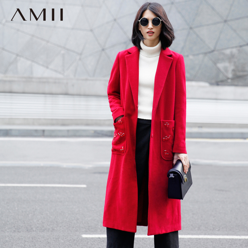 Amii Casual Women Woolen Coat 2018 Winter Solid Beading Covered Button Long Female Wool  ...