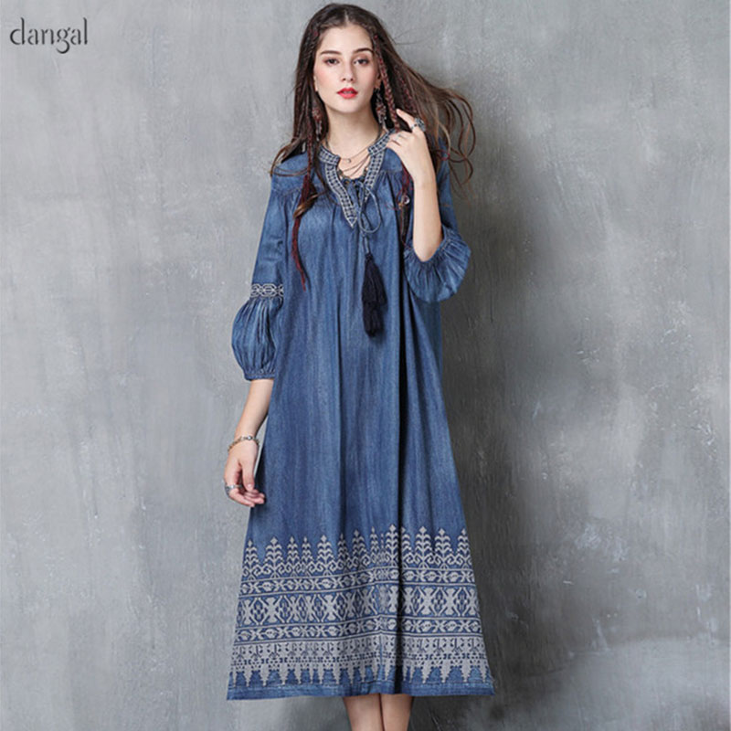 2018 Spring Fashion Dress In Cowboy Embroidered Retro Lantern Sleeve Female Vestidos Mujer Boho Style Long Women Denim Dresses
