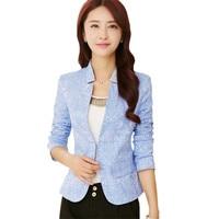 Elegant Floral Jacquard Blazer Women Brief Stand Collar Hidden Breasted Faux Pockets Short Suit Jacket Black