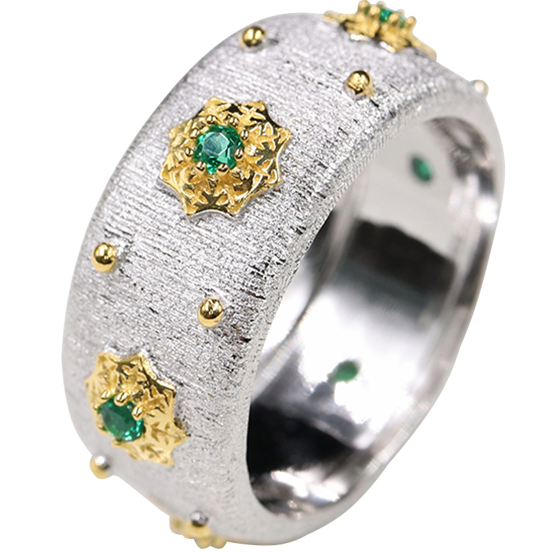 CMajor S925 Sterling Silver Jewelry Two Tone 5A Green Cubic Zircon Stone Star Rings For Women-in Engagement Rings from Jewelry & Accessories