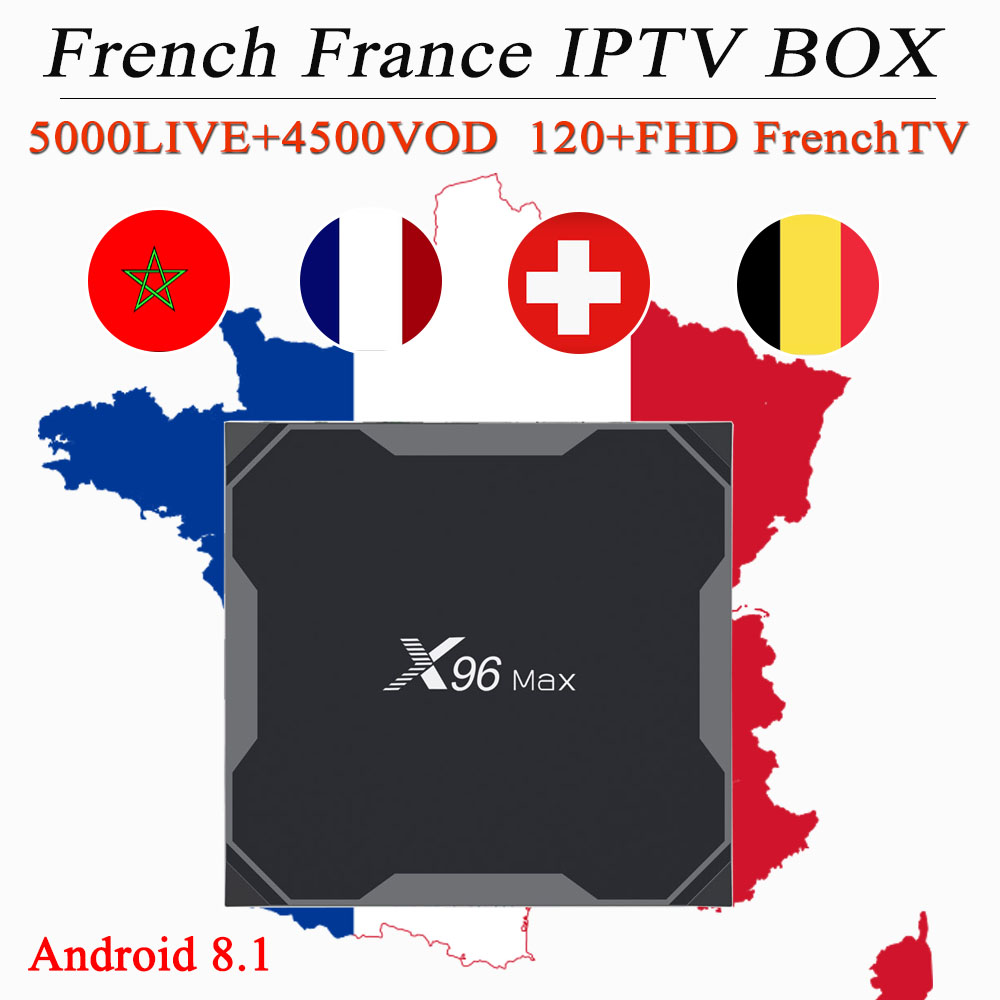 France iptv box X96 MAX android TV box 8 1 6000Live 7500VOD 1 year French Spain
