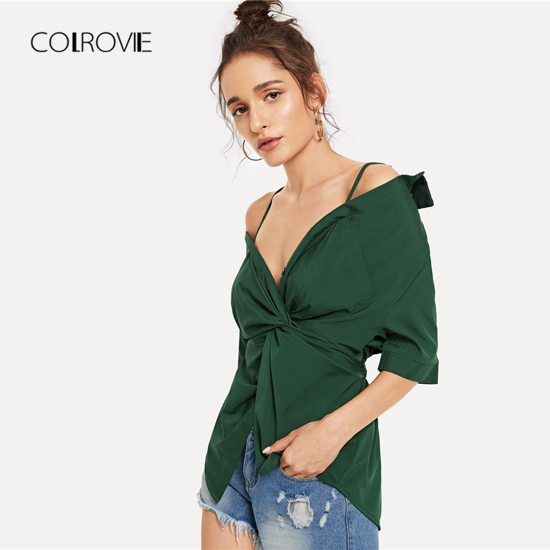 2d57140db9ab COLROVIE Green V Neck Twist Button Cami Half Sleeve Ginger Blouse Shirt  2018 Autumn Solid Elegant Feminine Blouse Women Tops-in Blouses   Shirts  from ...