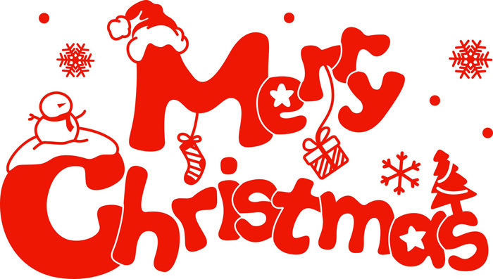 Merry Christmas Wordart Decorative Wall Stickers Glass