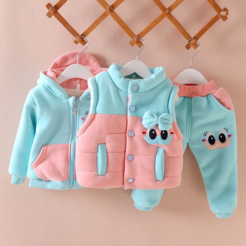 Girls Clothing Set Winter Warm Vest Waistcoat Coat Pants Suit Outfit Cartoon Fashion Suit Baby Girls