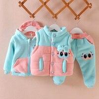 Kızlar Giyim Seti Kış Sıcak Yelek + Ceket + Pantolon Suit Kıyafet Karikatür Moda Suit Bebek Kız 0-3years Çocuklar giysi
