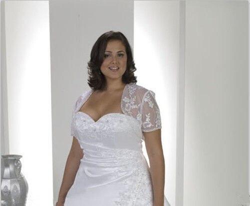 White Ivory Lace Shawl Bolero Wedding Jacket Bridal Plus Size Short ...