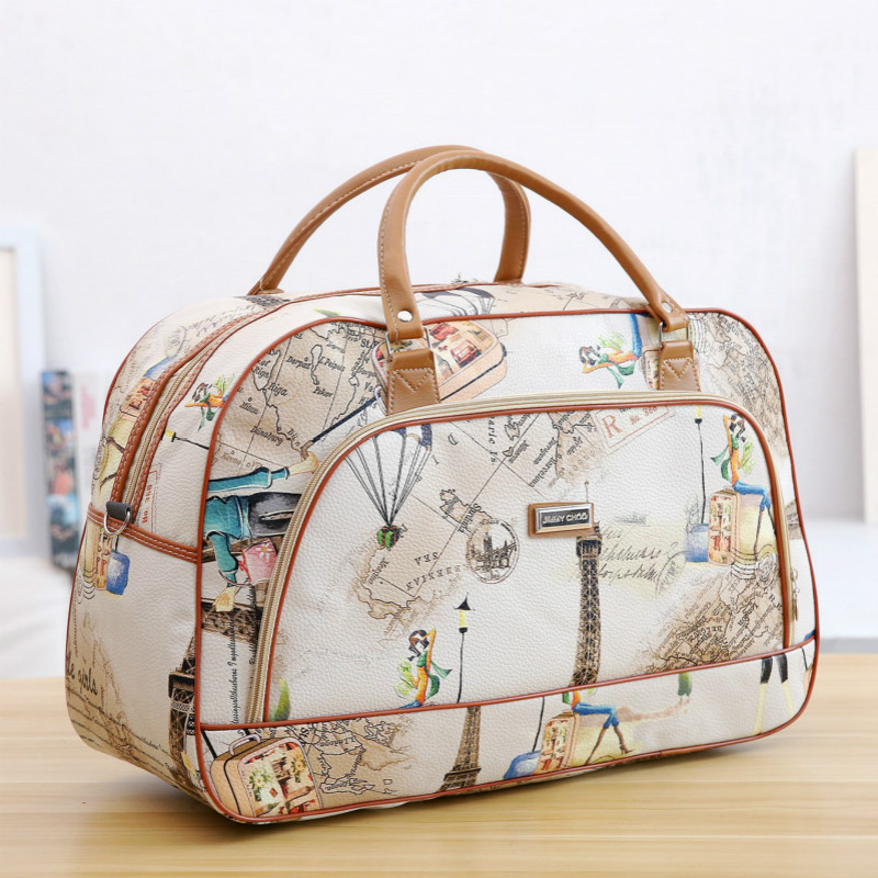 Women Cartoon Travel Bag Children Hand Luggage Bag Waterproof PU Leather Big Travel Bag Casual Girls Duffle Bag Handbags
