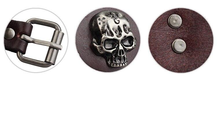 New Design Jewelry Multicolor Punk Rock Evil Skull Genuine Leather Wrap Bracelet for Women Men Ride Wristband Bracelets Cuff 3