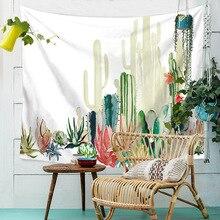 Drop Shipping Bohemia Tapestry Mandala Green Cactus Succulents Landscape Hanging Wall Tapestries Watercolor Printed Throw